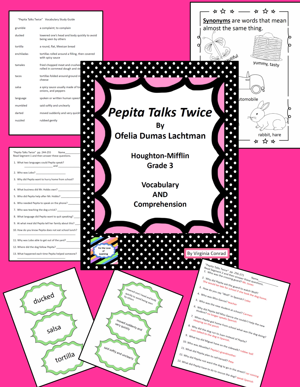 Pepita Talks Twice By Lacthman Houghton Mifflin Grade 3 Supplemetal Packet