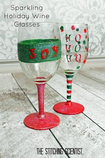Sparkling Holiday Wine Glasses...I'm going to paint Xmas designs on wine glasses for one of this season's crafts :)
