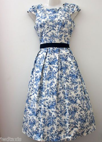 vintage style toile bird hepburn 50's mad men tea dress ebay