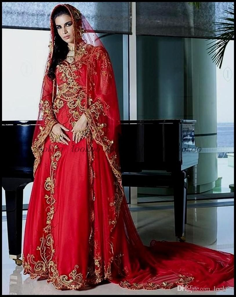 Red A Line Dubai Kaftan Muslim Wedding Dresses Sweetheart Embroidery Beaded Luxury Arabic Ic Bridal Gowns With Hijab Gown