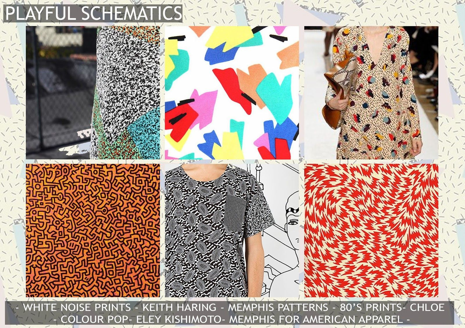 playful schematics, premiere vision, print trends, fashion trends, memphis pattern, keith haring, eley kishimoto, chloe