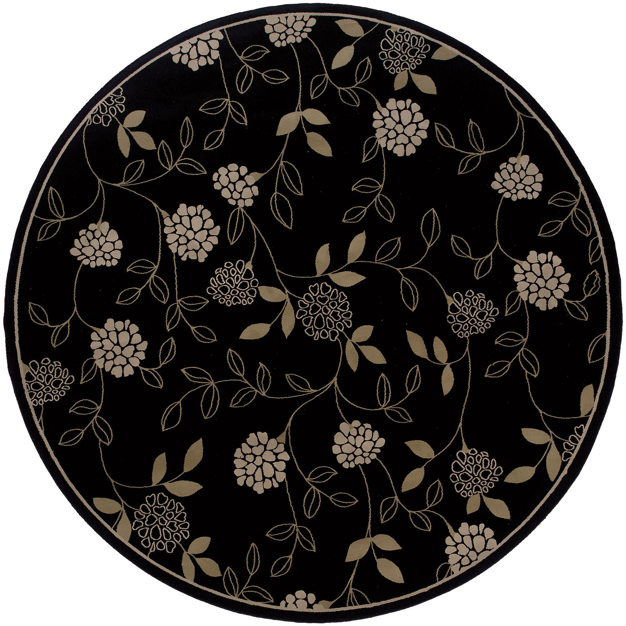 Ariana 2285G Floral Black-Green Area Rug (8' Round)