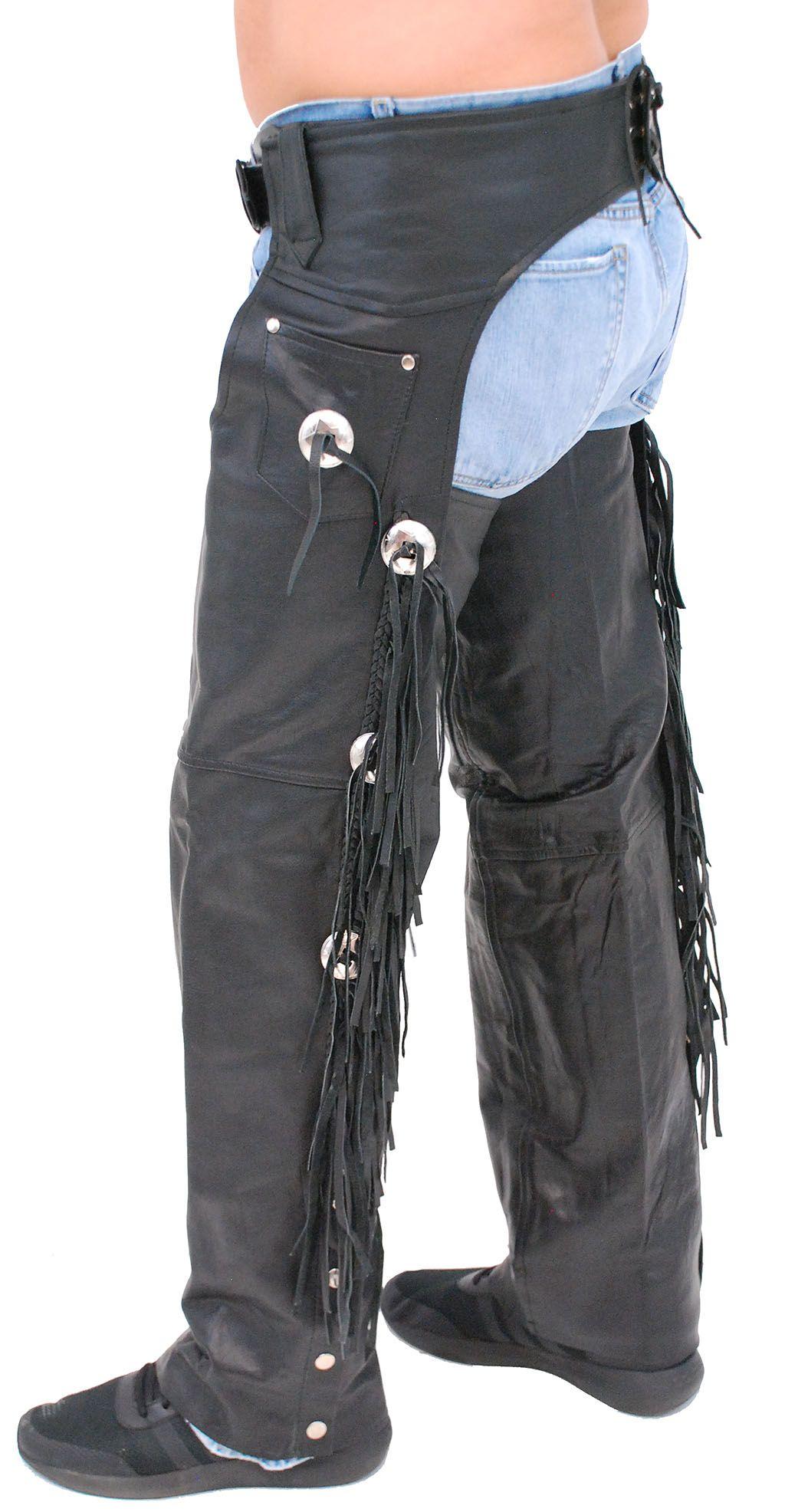 Buffalo Leather Chaps W Fringe Conchos C701cfb Leather Chaps Buffalo Leather Chaps