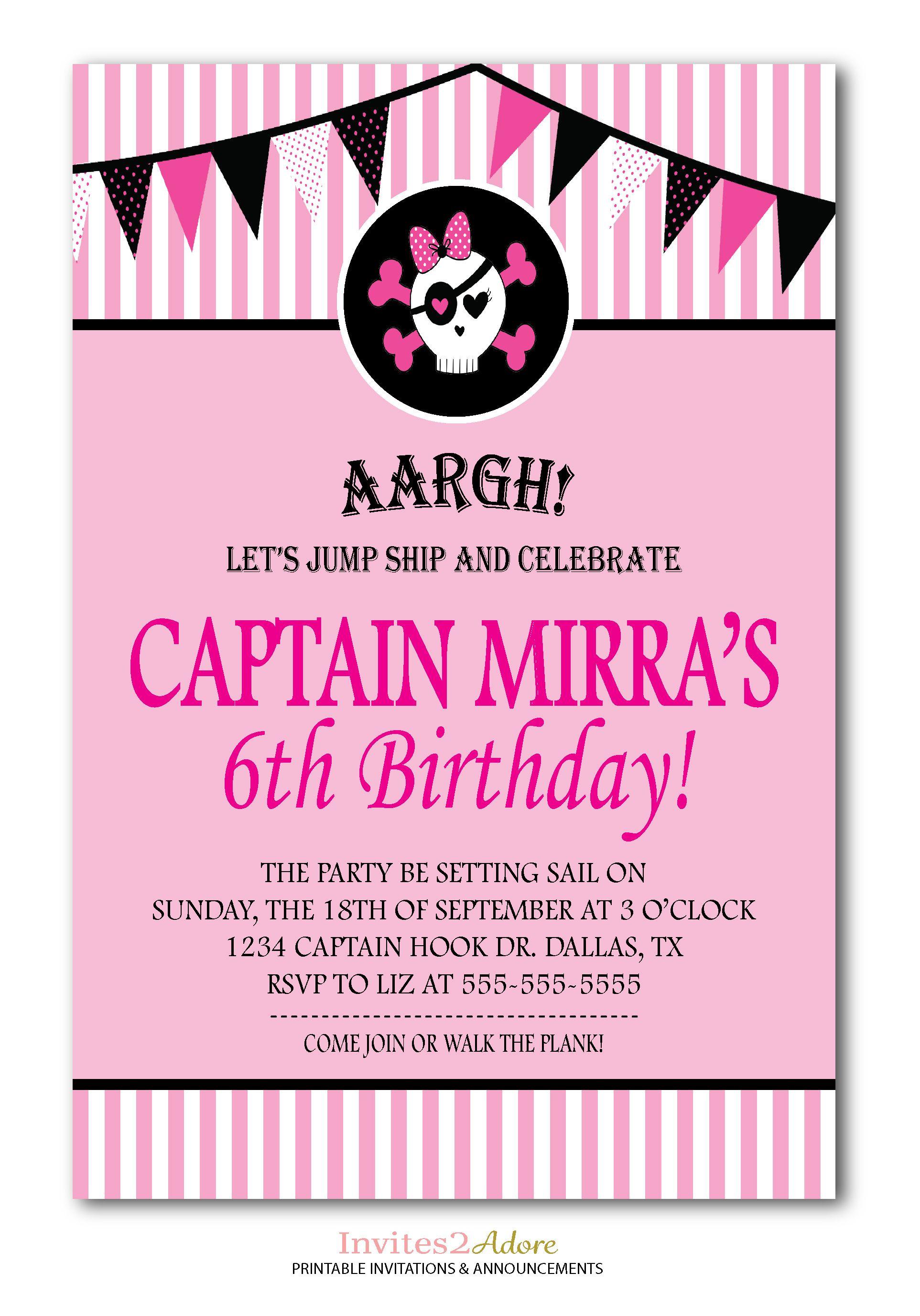 Girl Pirate Birthday Invitation - Pink Stripes Pirate Party - Girl ...