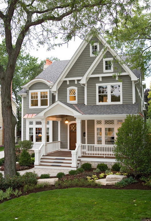 Gorgeous Gray And White Home Exterior Charming And Inviting Large Front Porch Shaker Shingle Siding House Exterior House Styles Traditional Exterior