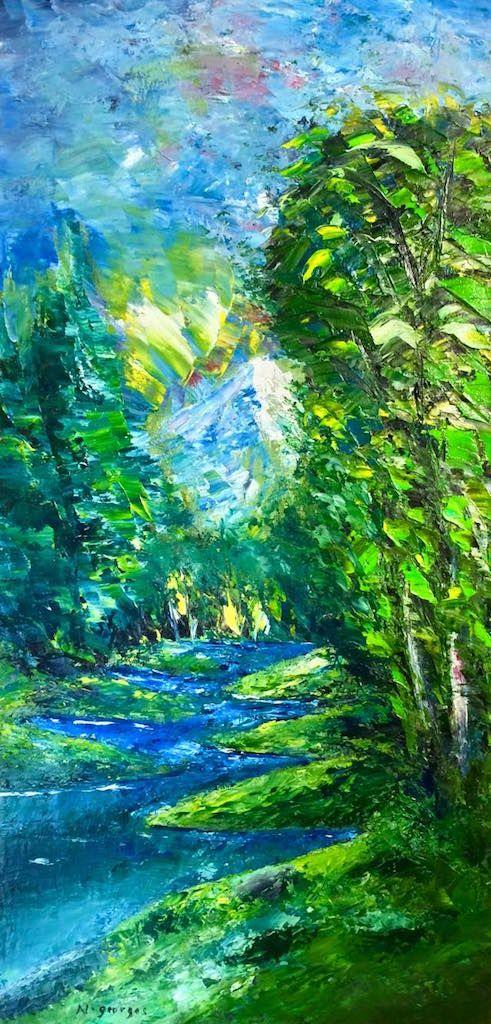 River Oil Painting River In Spring Original Art Oil Painting Landscape Natural Oil Painting Fine Art Landscape Oil Painting Landscape Landscape Paintings Fine Art Landscape