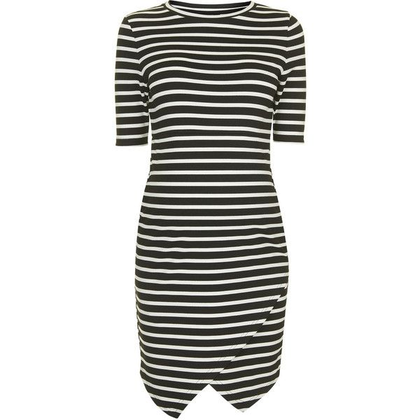 TOPSHOP MATERNITY Stripe Asymmetric Bodycon Dress (945 MXN) ❤ liked on Polyvore featuring maternity, dresses, baby, pregnancy and monochrome