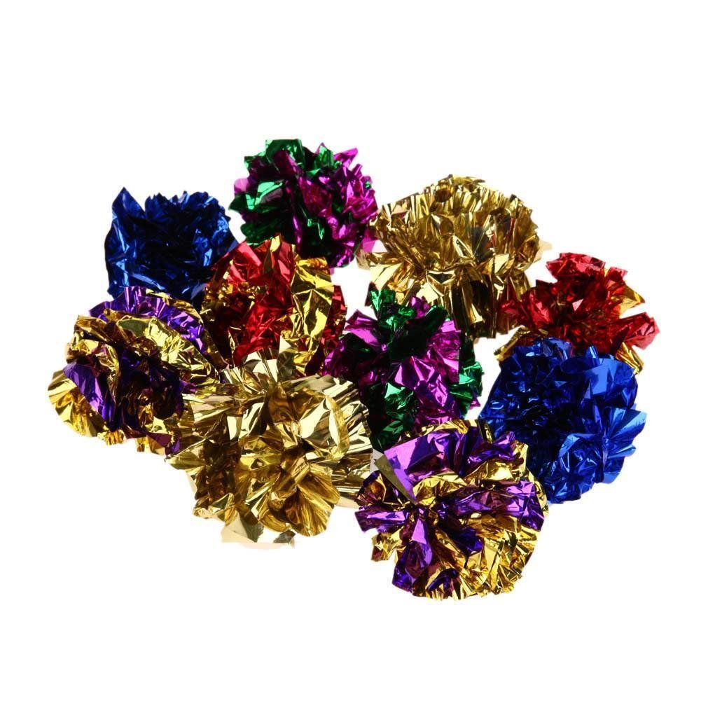 Domybest 12pcs Colorful Ring Paper Cat Toy Mylar Balls Sound Paper Kitten Play Balls