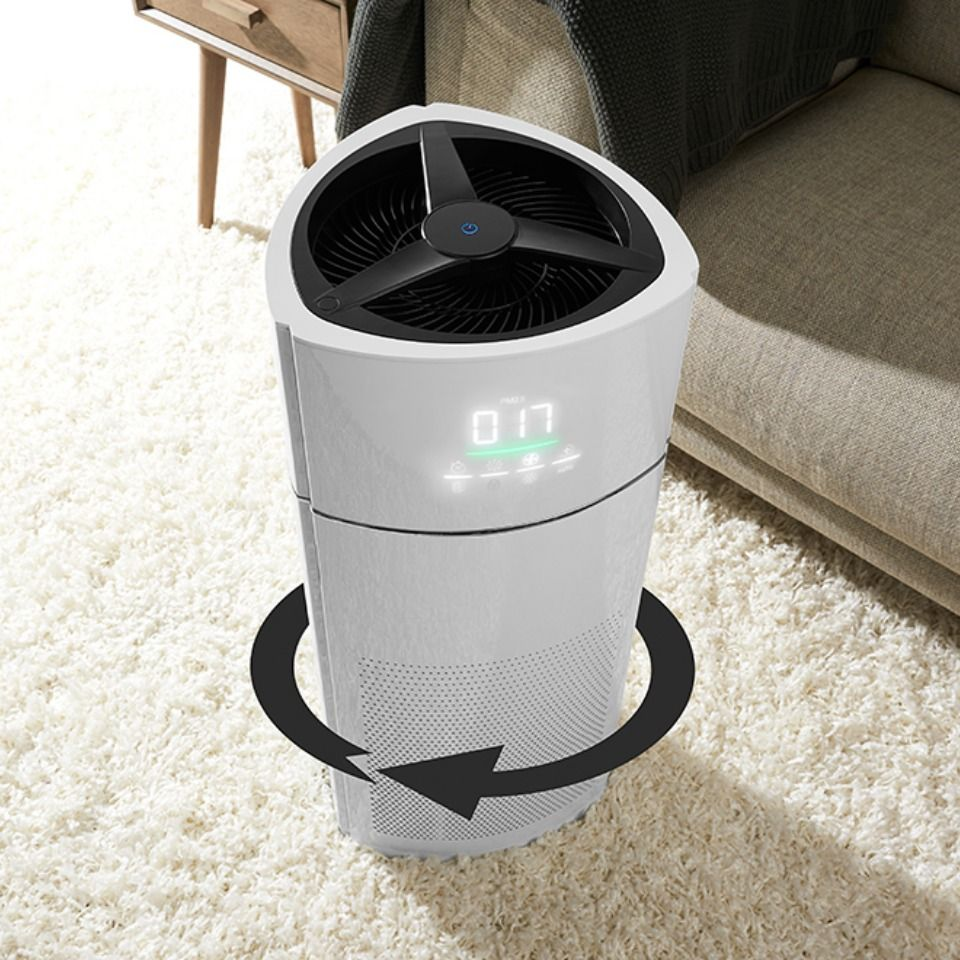 The Smart Sensing 360 Degree Air Purifier towers over the