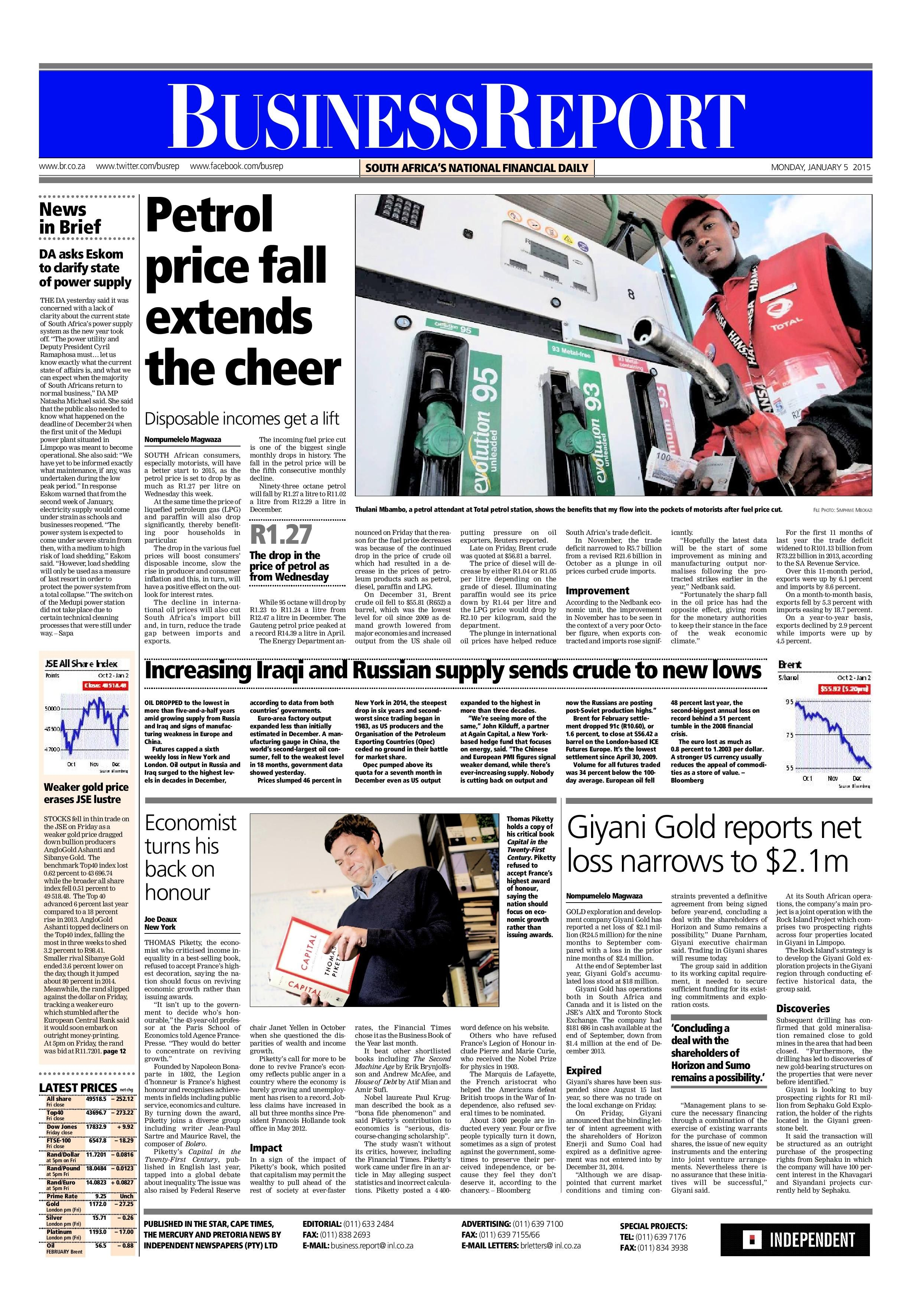 Today's Business Report newspaper front page (January 5 ...