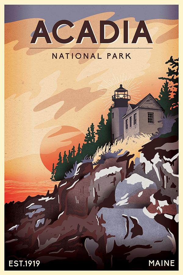 Acadia National Park Poster National Park Posters Acadia National Park Acadia National Park Maine