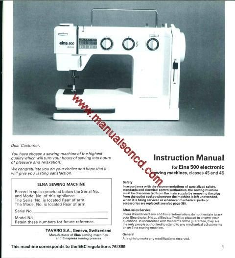 Elna 500 Electronic Sewing Machine Instruction Manual for classes 45 and 46.  Covers Models: 500 Electronic  38 pages of great information.  Great diagrams!  Here are just a few examples of what's included in this manual:  * Setting up your machine. * Fitting needles and feet. * Threading your machine. * Bobbin winding. * Stitch adjustment. * Adjusting thread tension. * Stitch applications. * Machine maintenance. * Much more!