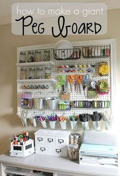How to Make a Giant Peg Board for Craft Organization