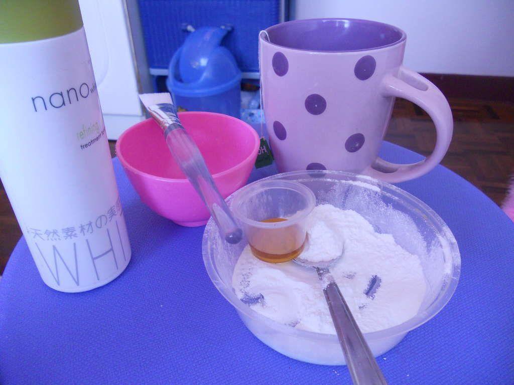 DIY Rice Flour Mask with honey and green tea #