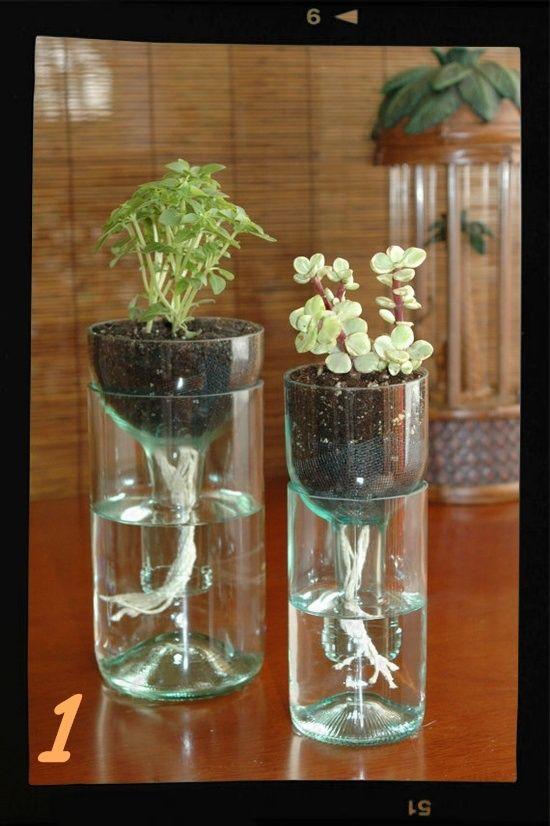 cómo hacer #jarrón original con #botella de #vidrio cortada con