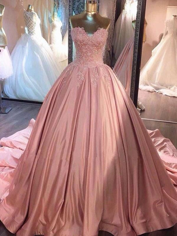 Prom Dresses Classy, Ball Gown Sleeveless Sweetheart Court Train Lace Satin Dresses YB33PO1693