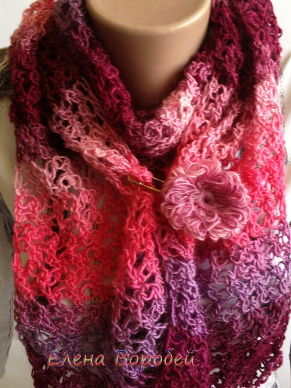 Scarf Raspberry Jam Scarf crochet scarf Buy Trendy by ElenaVorobey ...