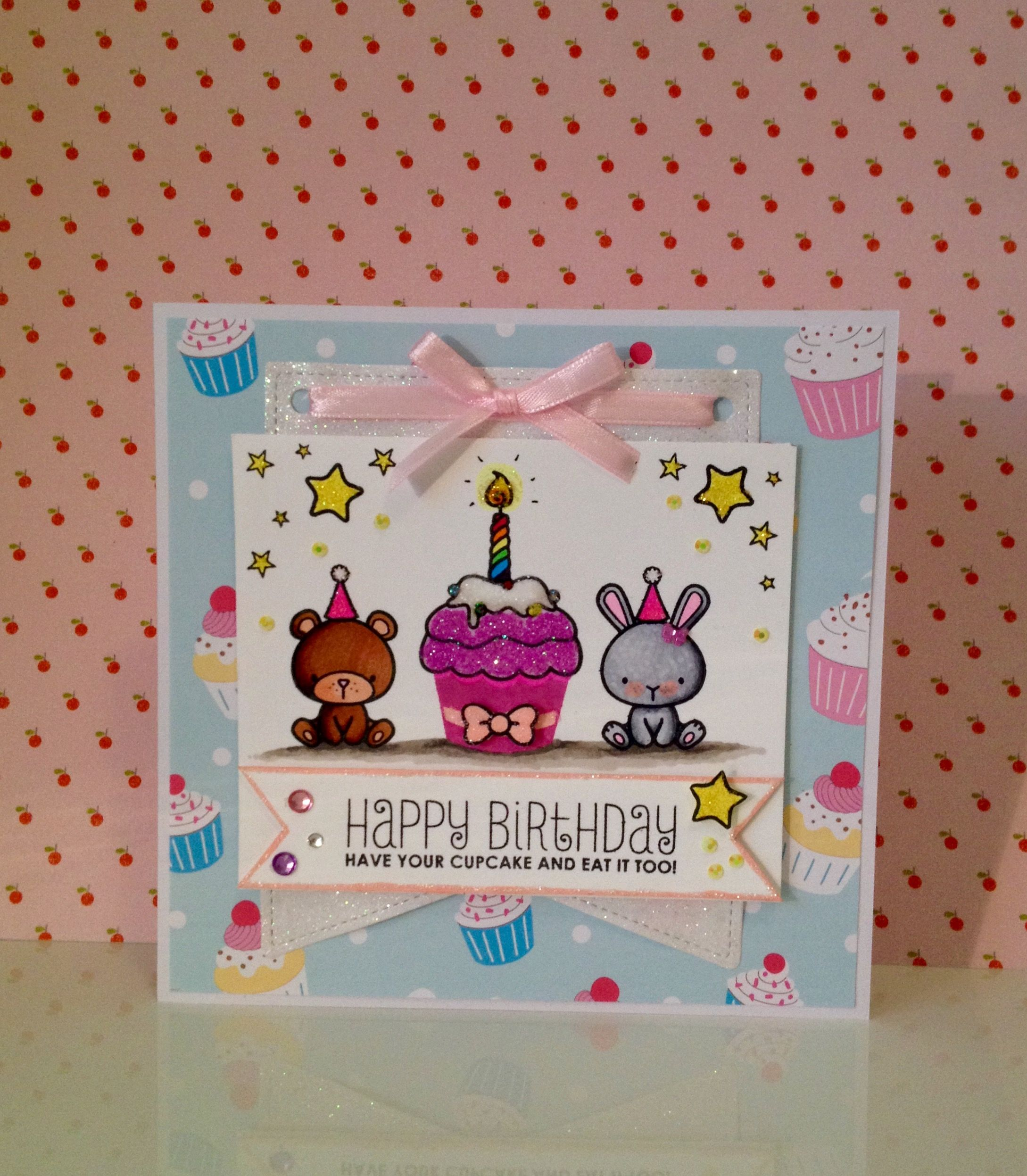 mama elephant stamps on little girls birthday card. By www.paperalley.co.uk