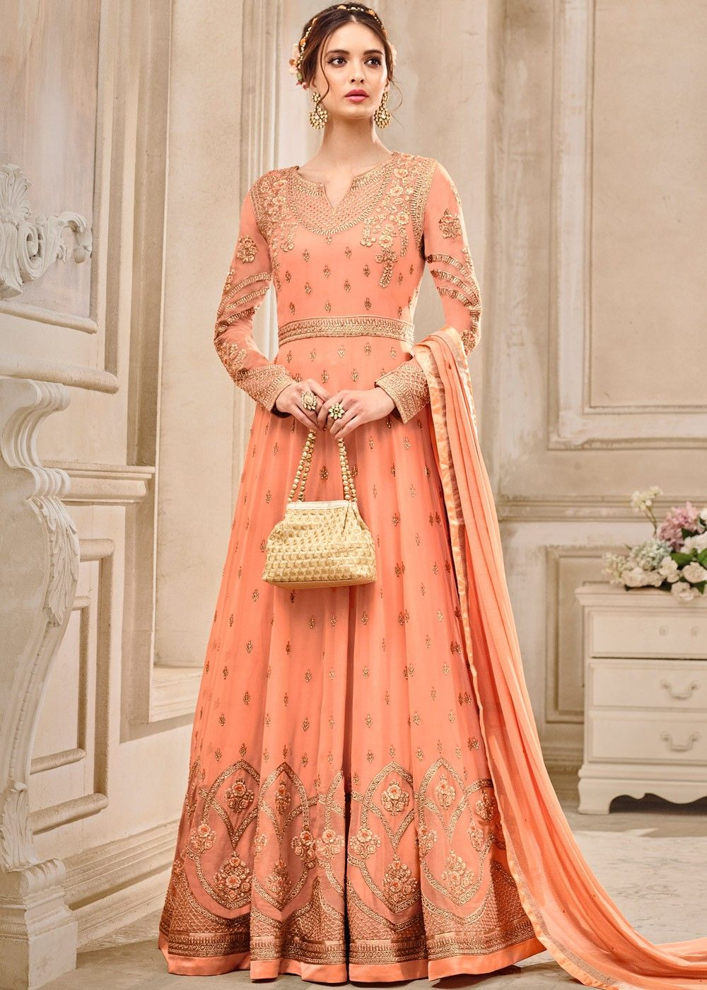 844ac5bb45 Light #orange full length #anarkali #kameez in #georgette enhanced by  intricate #resham #embroidery and stone work.
