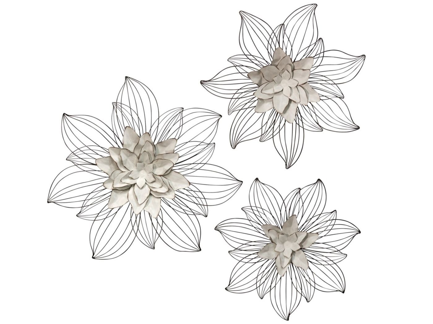 "Set of 3 Cream Metal Flowers Wall Decor 20""/24""/27"