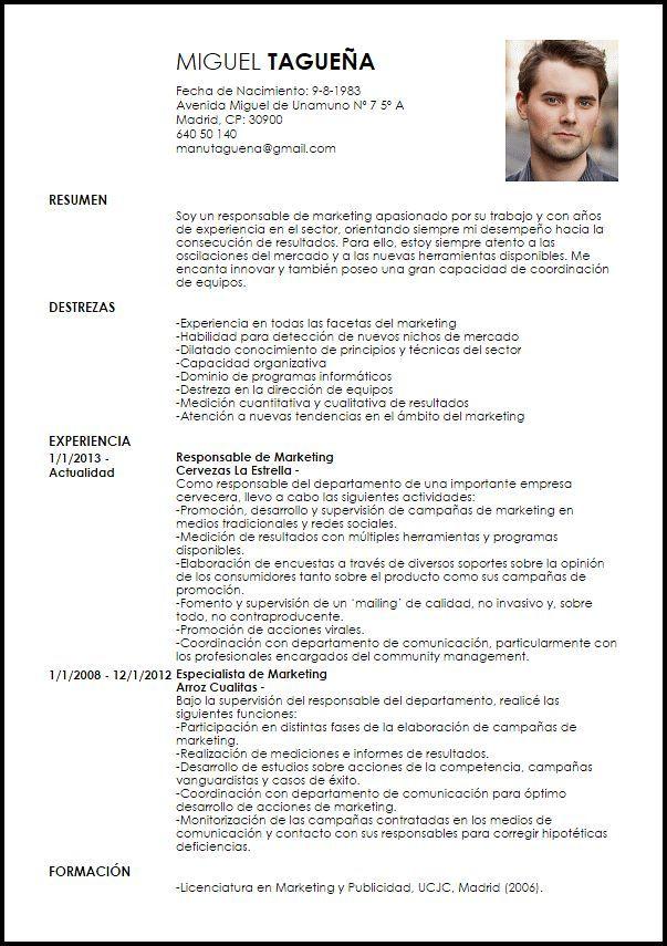 Resultado De Imagen Para Curriculum Ejemplo Cv Resume