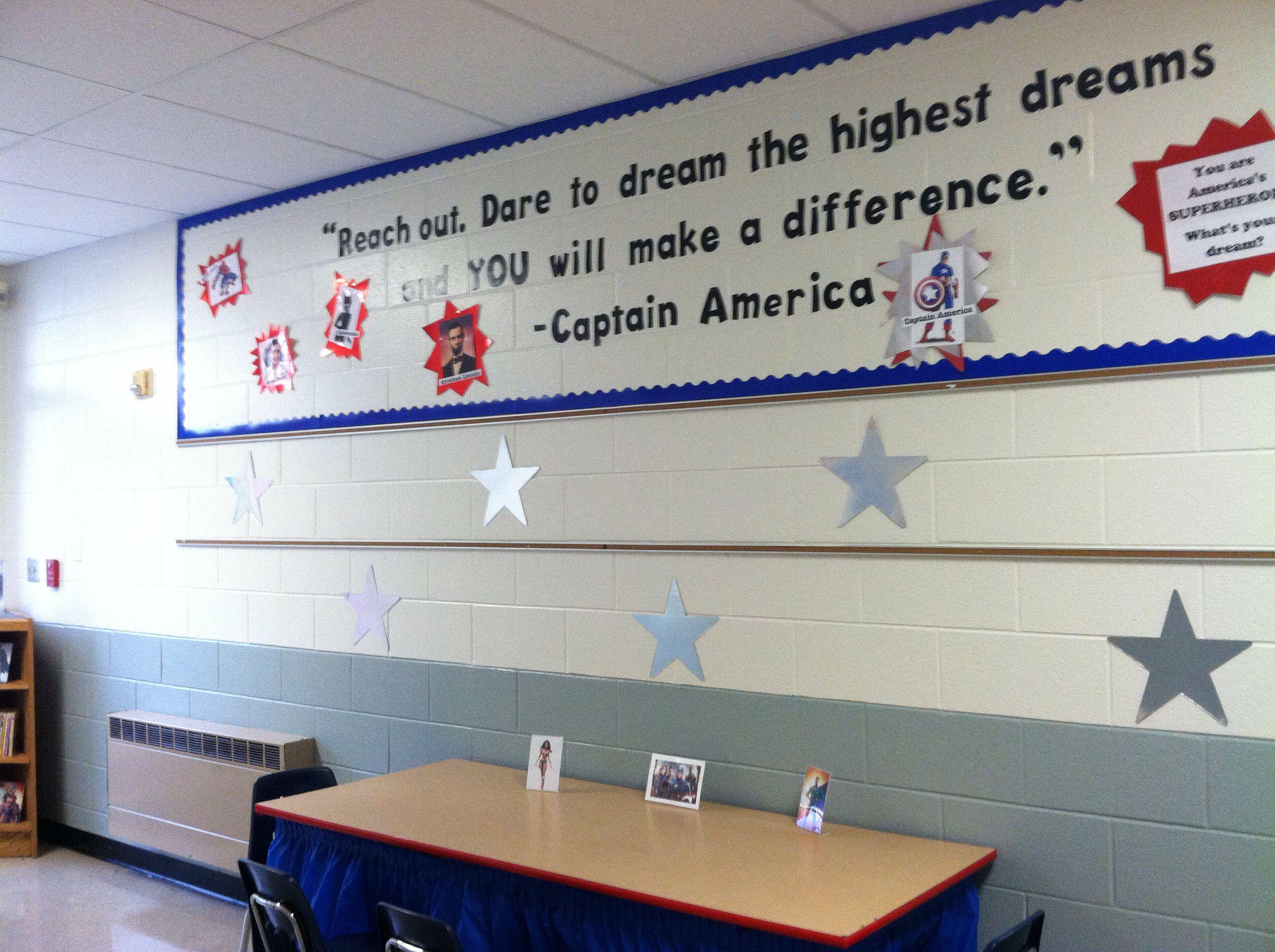 captain america theme teaching pinterest superhero classroom school and super hero theme. Black Bedroom Furniture Sets. Home Design Ideas