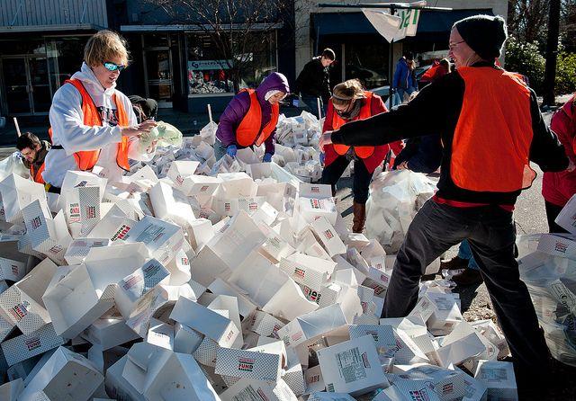 The Krispy Kreme Challenge 2013 cleanup crew goes to work