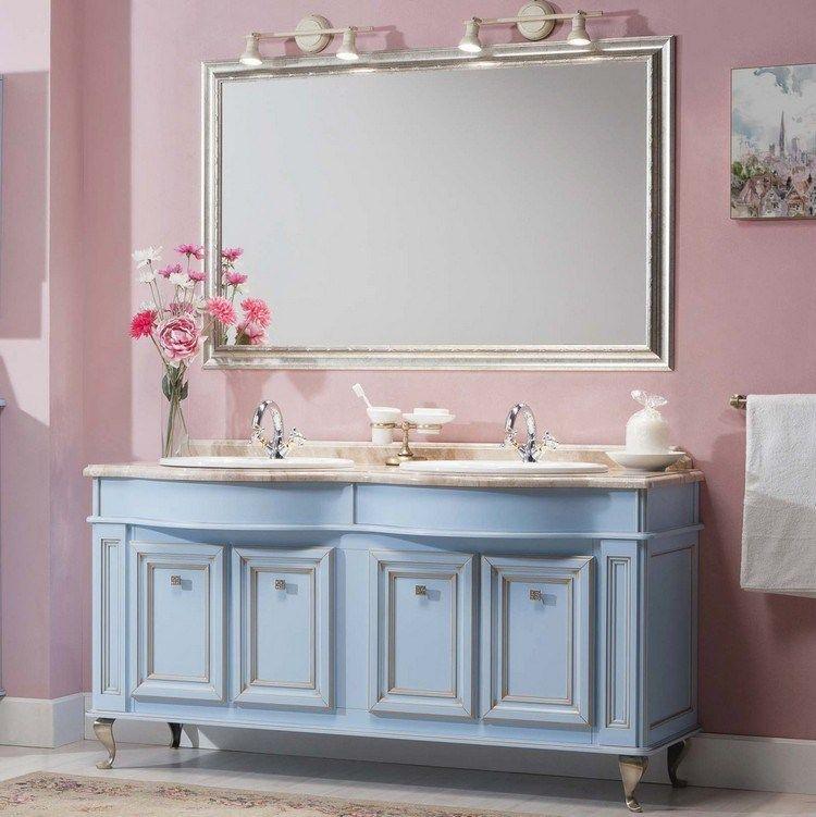 meuble salle de bain moderne pour une ambiance romantique, peinture