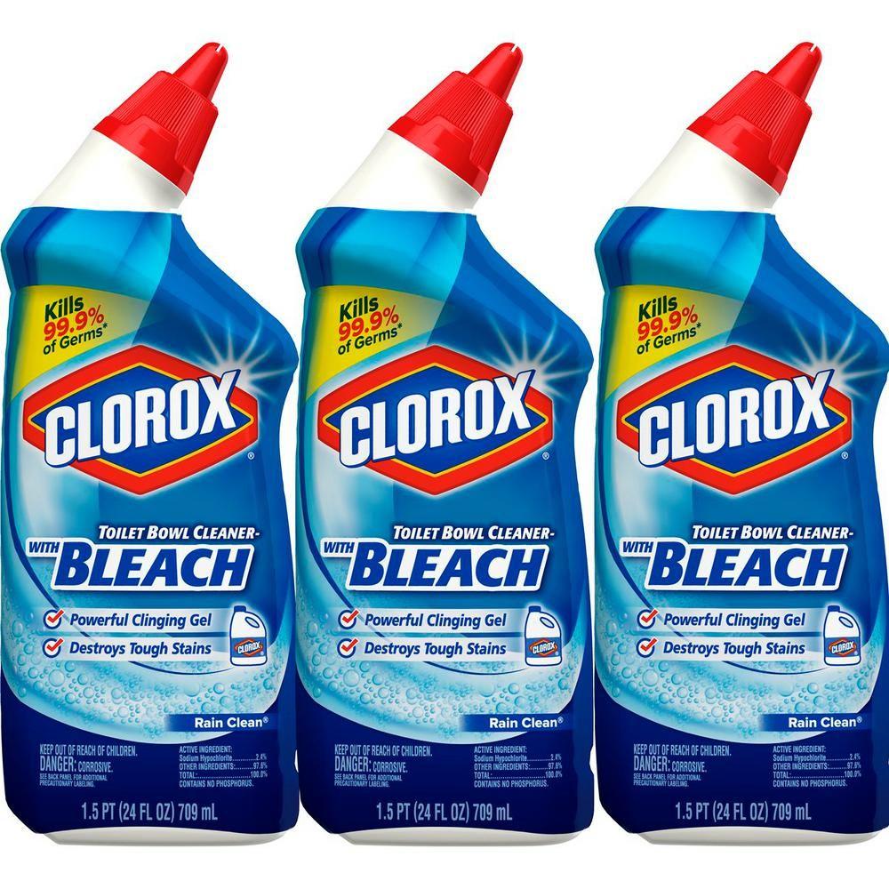 Clorox 24 Oz Rain Clean Toilet Bowl Cleaner With Bleach 3 Pack