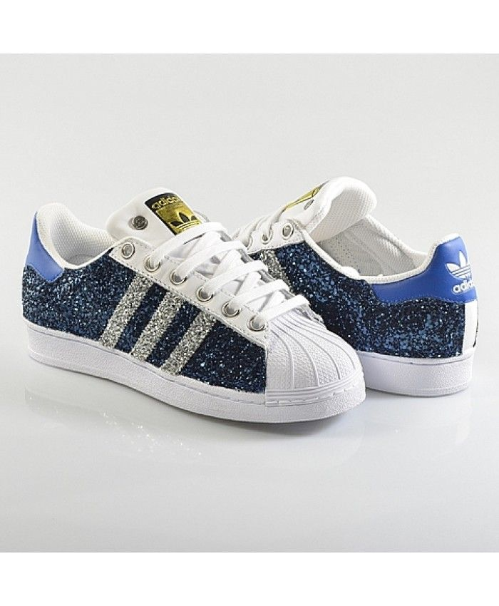 size 40 7057e c7d3e Cheap Adidas Superstar Glitter Blue White Womens Trainers