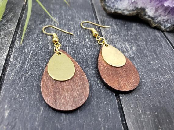 Natural Teardrop Wood Earrings