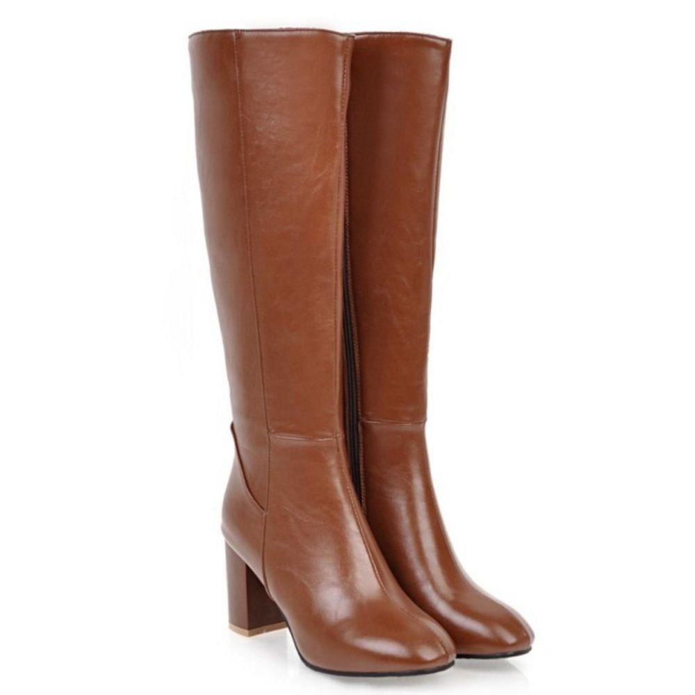 af3cf34793f8 RAZAMAZA Women Knee High Chunky High Heel Dress Boots with Zipper:  Amazon.co.