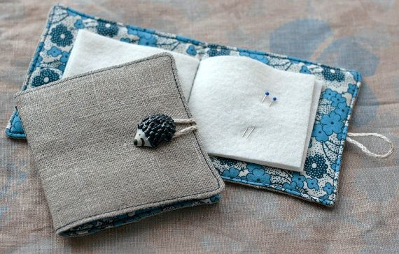 Small Linen Needle Book with Hedgehog Button, blue