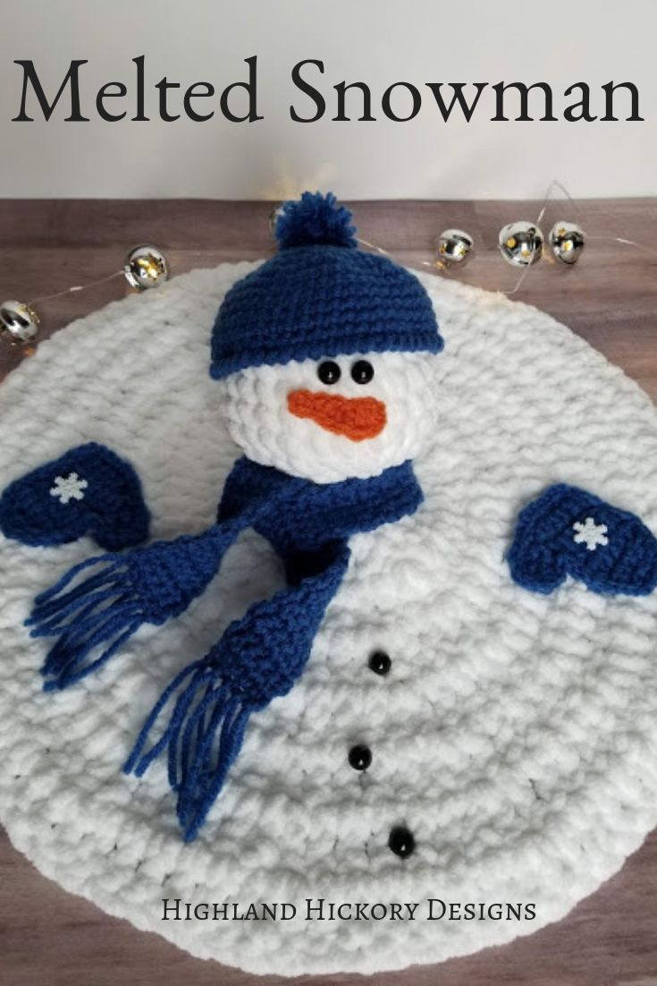 Melted Snowman - Highland Hickory Designs - Free Crochet Pattern
