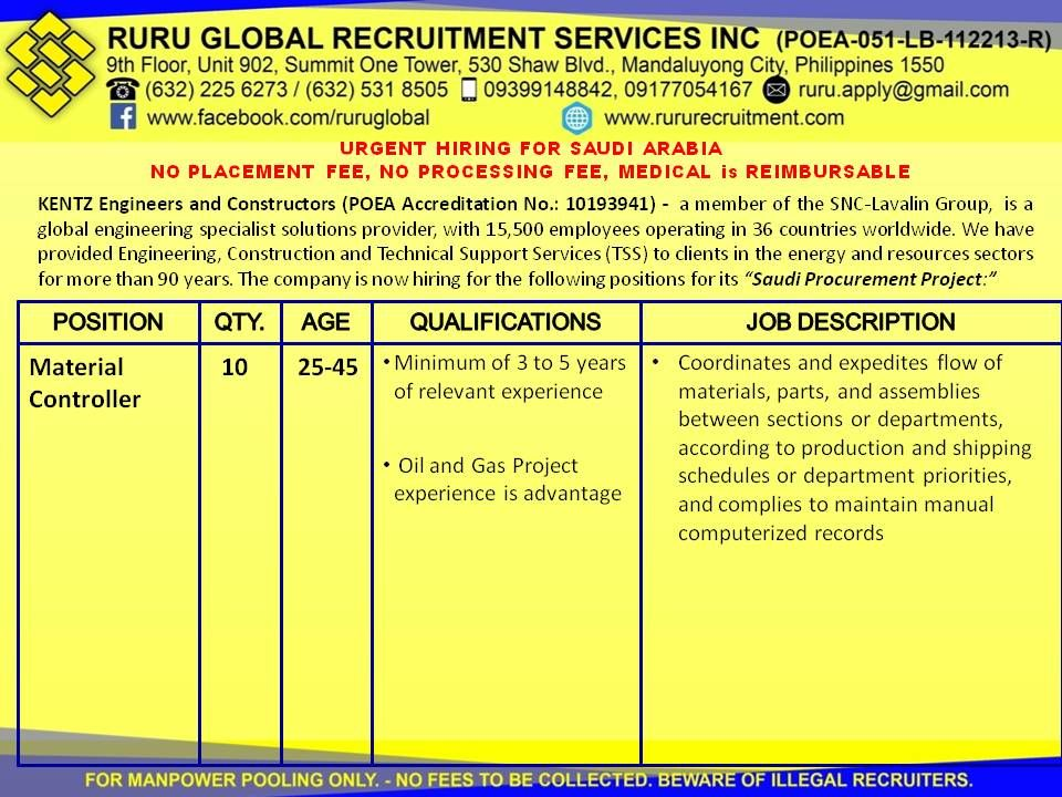 Kentz Saudi Arabia Hiring For Buyer And Material Controller