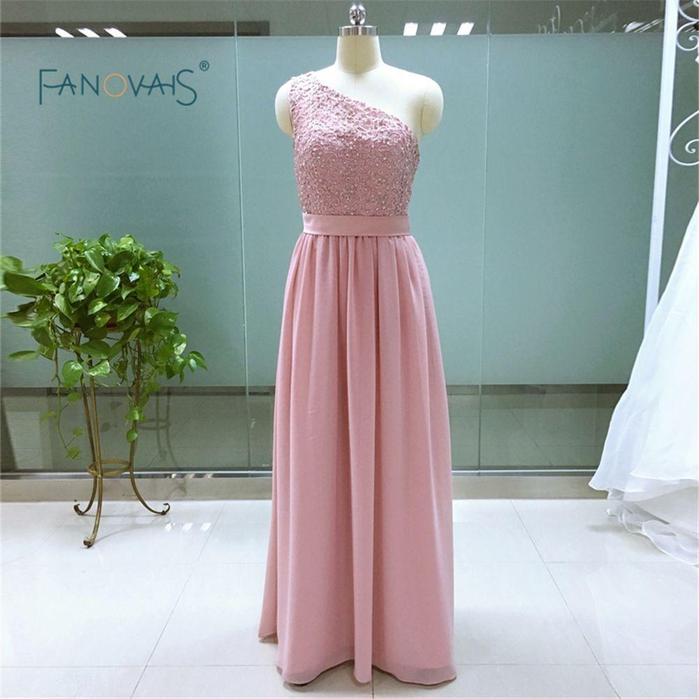 Cheap Custom made long Chiffon Bridesmaid Dresses One Shoulder Girl ...