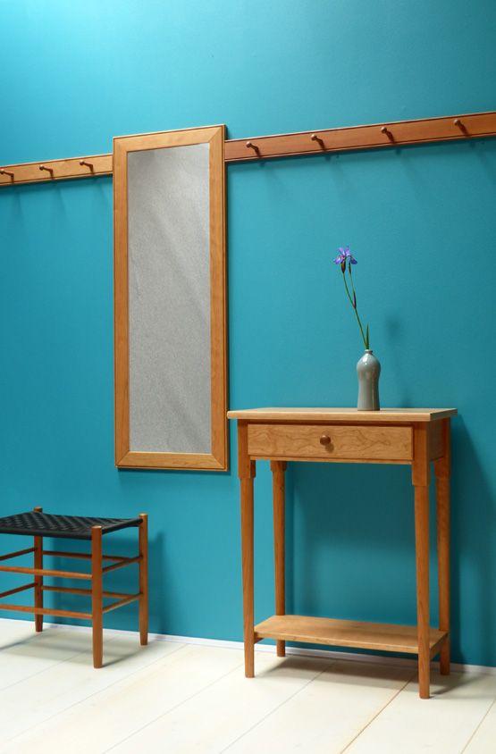 Shaker Möbel konsoltisch und spiegel aus black cherry seeland shaker moebel