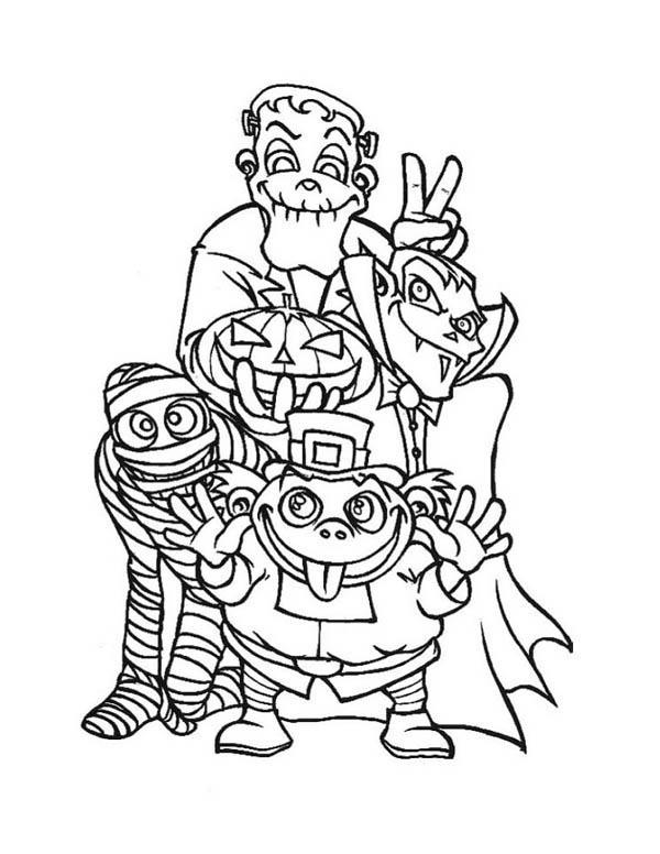 Halloween Monsters And Frankenstein Coloring Page Download Print Online Col Malvorlagen Halloween Malvorlagen Fur Kinder Kostenlose Erwachsenen Malvorlagen