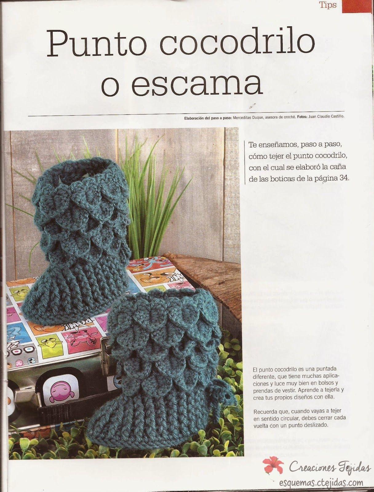 Zapatos a Crochet - Botitas a Punto de Cocodrilo | Crochet ...