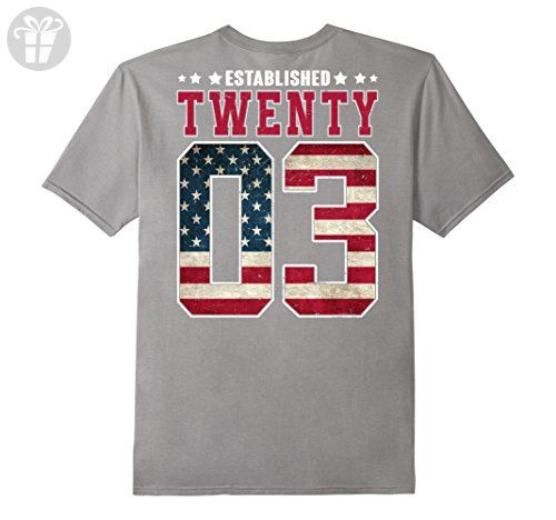 Mens Established Twenty 2003 Birthday Gift For 14 Years Old Medium Slate - Birthday shirts (*Amazon Partner-Link)