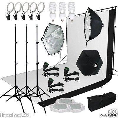 9x13 BW Backdrop Support Stand Photography Studio Video 3 Softbox Lighting Kit  sc 1 st  Pinterest & 9x13 BW Backdrop Support Stand Photography Studio Video 3 Softbox ... azcodes.com