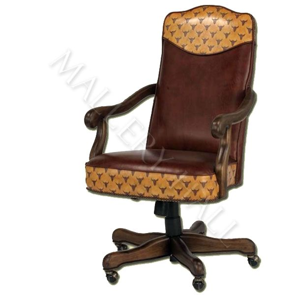 Custom-made Leather Office Chair Detailed With Longhorn