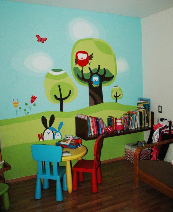 mural play room: lleno de color, para un dormitorio o sala de juegos...