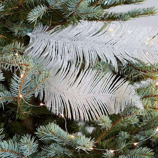 Glitter Feather Tree Picks Set Of 3 Christmas Tree Feathers Feather Tree Modern Christmas Ornaments
