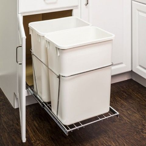 Pullout Trash Bin System For Base Cabinet (Double)