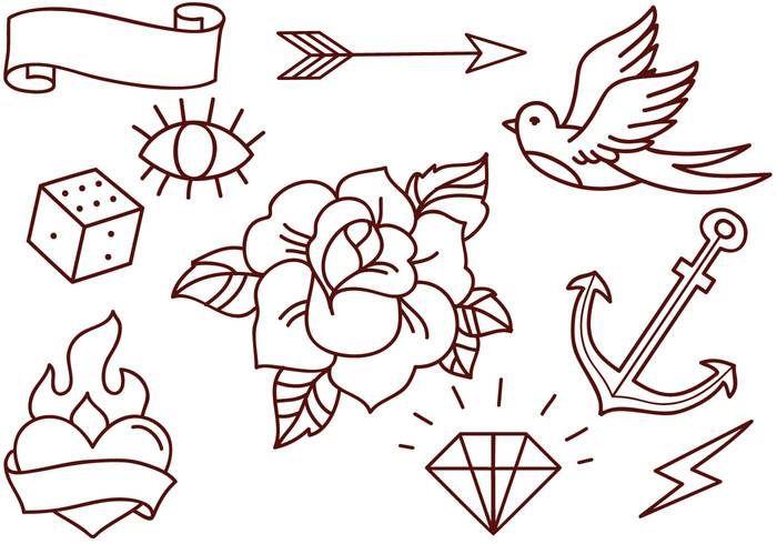 Free Old School Tattoos Vectors Download Free Vector Art Stock Old School Rose Old School Tattoo Designs School Tattoo