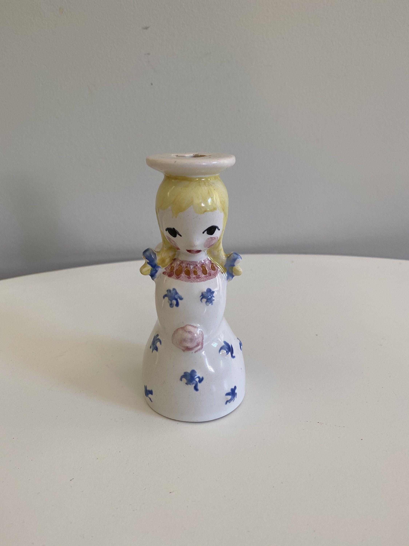 Vintage Nymolle Denmark Angel Candleholder Tiny Taper Holder Scandinavian Angel Figurine Hand Painted Nymolle Angel Bud Vase Candle Holders Ceramic Angels Taper Holders