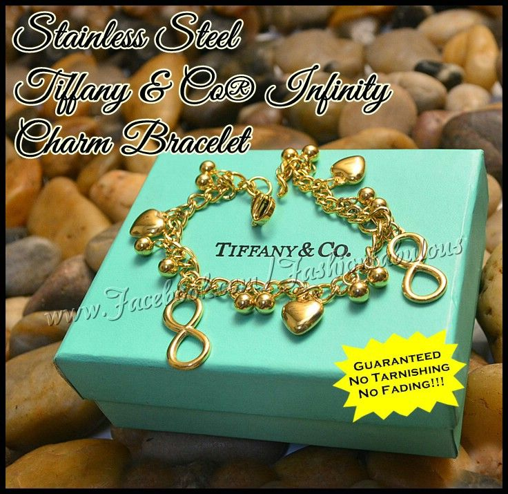 a561a6def Stainless Steel Tiffany & Co Infinity Charm Bracelet Available in Gold and  Two Tone Php 270.00 (Gold)