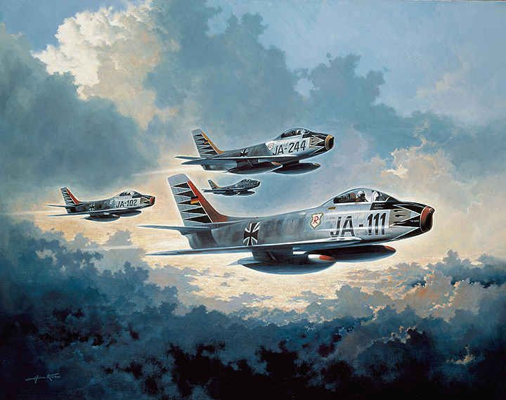 """Oberst Erich Hartmann the """"Ace of Aces"""" in his personalized CL-13 Mk. 6 JA-111 of JG 71 in 1958.  Hartmann painted his Sabre in the same spreading black tulip scheme used on his Bf-109G fighter Karaya 1 on the eastern front late in WWII.  After being returned to Germany from a work camp in the USSR Hartmann joined the Bundeswehr, and led its first all jet squadron, JG 71."""