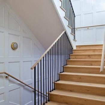 Best Staircase Wainscoting Transitional Entrance Foyer Studio William Hefner Wood Staircase 400 x 300